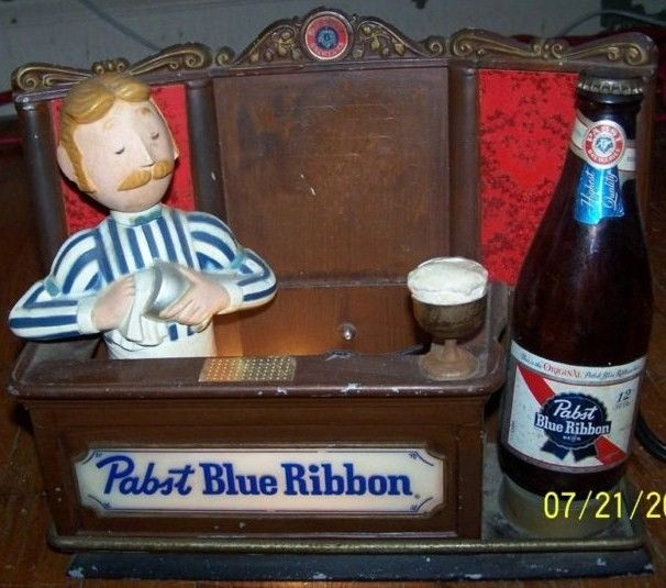 Vintage Pabst Blue Ribbon Beer Bartender Sign w/Light