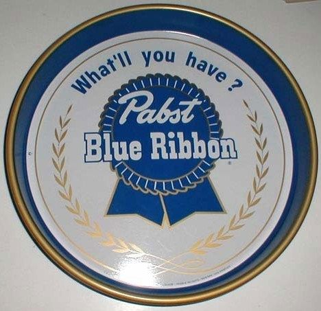 Vintage Pabst Blue Ribbon Metal Beer Tray