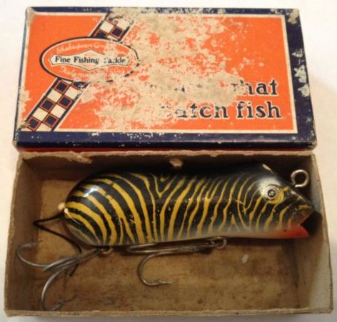 Vintage Shakespeare Swimming Mouse 6578 Tiger Wood Fishing Lure