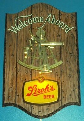 Vintage Strohs Beer Nautical Lighted Bar Sign