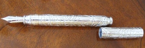 Vintage Tiffany & Co. Sterling Silver Flame Engraved Fountain Pen