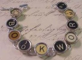 Vintage Typewriter Key Bracelet says Book Worm