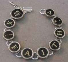 Vintage Typewriter Key Bracelet says Faith