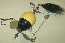 Vintage Unknown Odd Wood Propeller Lure w/Bells Wire Harness Bucktail