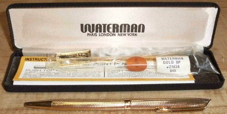 Waterman Hemisphere 23 K Gold Plated Barley Ballpoint Pen