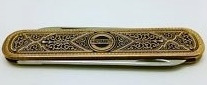 Hermes W. Broch Inox Solingen Razor Hunting Pocket Knife/Gold Brass