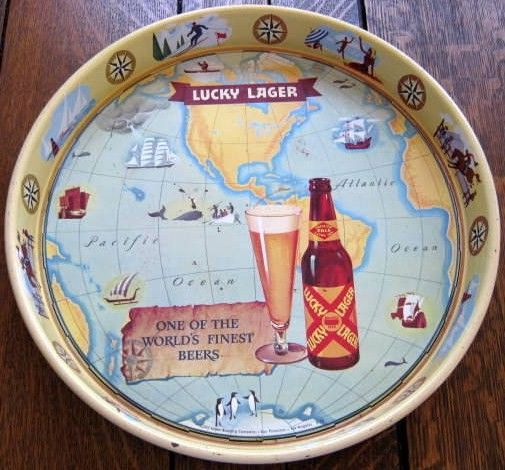 Vintage Lucky Lager Beer Serving Metal Tray 1940's