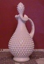 Vintage 1960s Fenton Hobnail Milk Glass Decanter