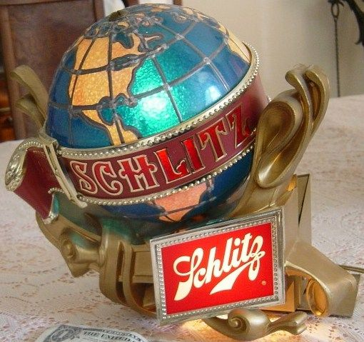 Schlitz Beer Lighted Rotating Globe Sign 1970s