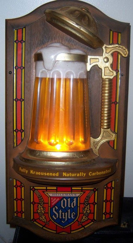 Vintage 1976 Heilemans Old Style Beer Bubbler Stein Motion Sign