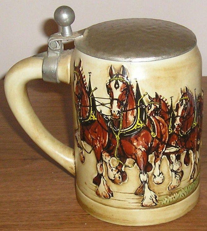 Vintage 1980 Budweiser Champion Clydesdales Ceramarte Lidded Mug