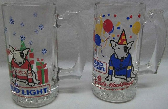 Vintage 1980s Spuds MacKenzie Beer Glass Mug Set