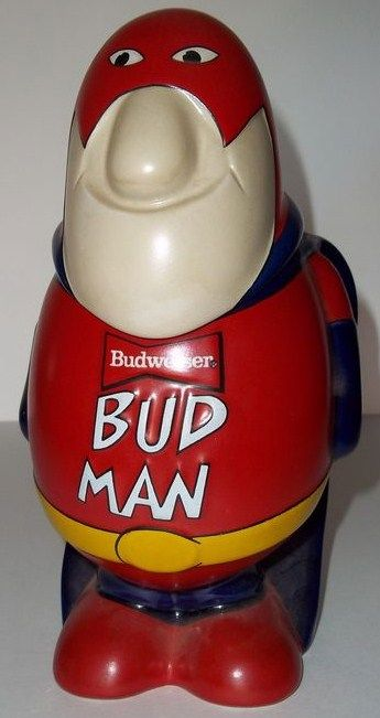 Vintage 1980s Bud Man Stein Mug Ceramarte Brazil Front View