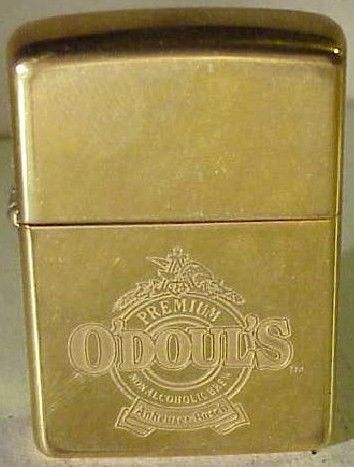 Vintage 1933 Brass Zippo Lighter w/ Odoul's Beer Advertisement Logo