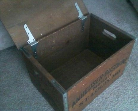 Old Budweiser Wooden Beer Crate Inside View
