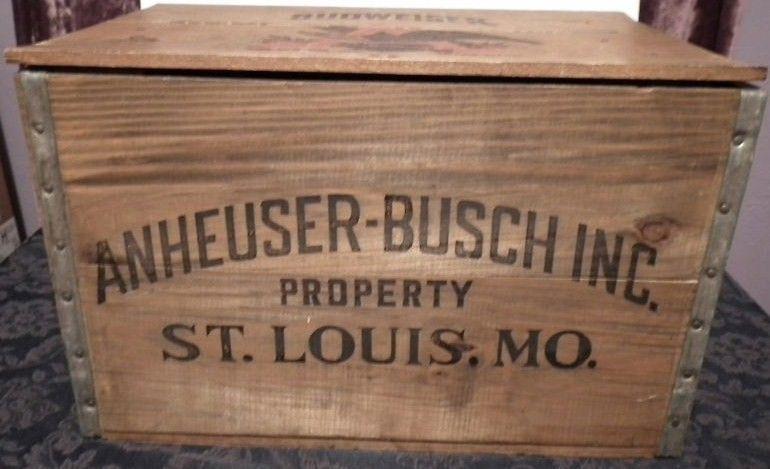 Vintage Anheuser Busch Inc. Budweiser Wooden Beer Crate
