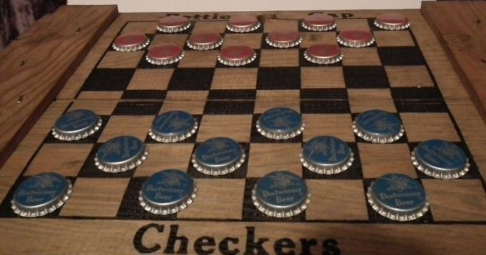 Vintage Anheuser Busch Checker Board Crate w Bottle Cap Checkers