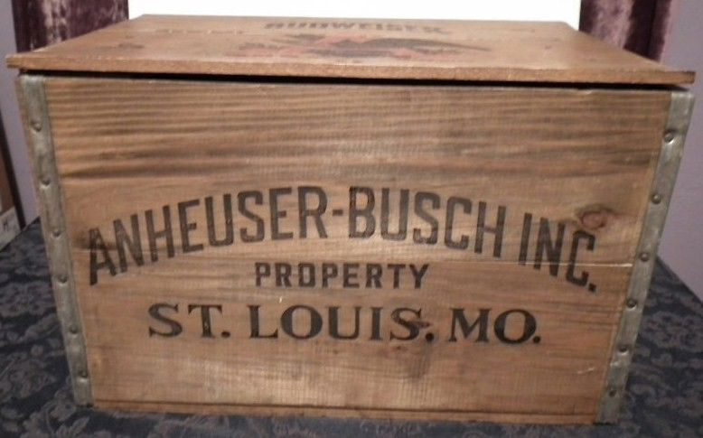 Vintage Anheuser Busch Wooden Beer Crate Front