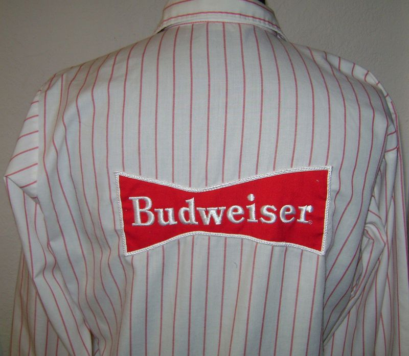 Vintage Budweiser Beer Delivery Uniform Shirt Back Union Made