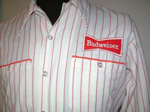 Vintage Budweiser Beer Delivery Uniform Shirt Union Made
