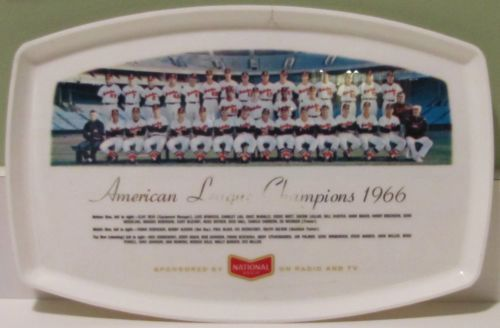 Vintage Baltimore Orioles National Bohemian Beer 1966 AL Champions Tray
