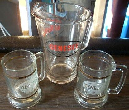 Vintage Barware Breweriana Genesee Pitcher w Glass Mugs