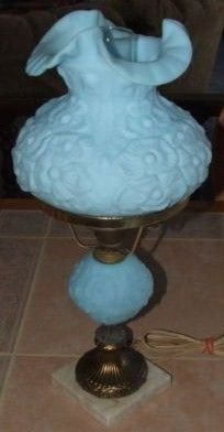 Vintage Blue Satin Fenton Student Lamp Poppy Design