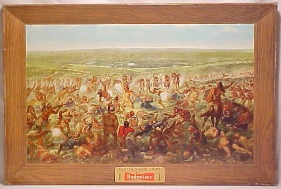 Vintage Budweiser Custers Last Stand 1952 Advertising Painting