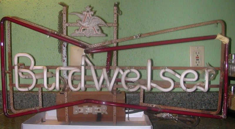 Antique Bow Tie Budweiser Neon Sign 1940s-1950s