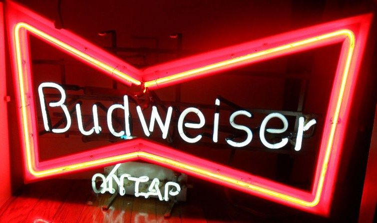 Vintage Budweiser On Tap Beer Bowtie Neon Bar Sign
