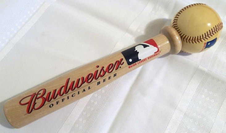 Vintage Budweiser Wood Beer Tap Handle Official Beer MLB