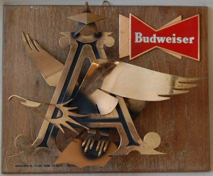 Budweiser Sign 1950's-60's Metal Wood