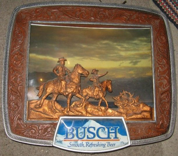 Vintage Busch Lighted Cowboy Bar Sign