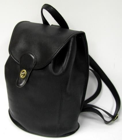 Coach Vintage Black Leather Backpack Purse