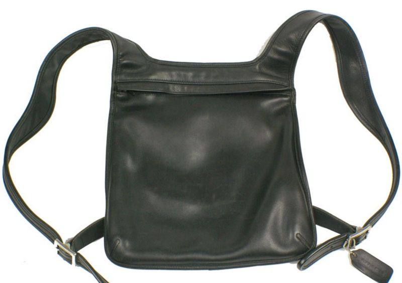 Vintage Coach Black Leather Shoulder Bag Backpack