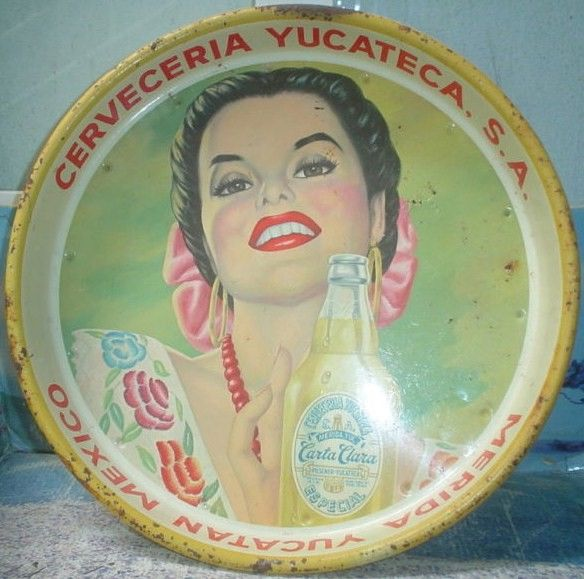 Vintage Carta Clara Beer Tin Tray 1960's Yucatan Mexico
