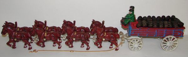Vintage Cast Iron Clydesdale Horse Beer Wagon Budweiser