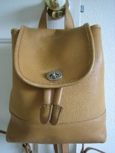 Vintage Coach Womens Backpack Tan Front