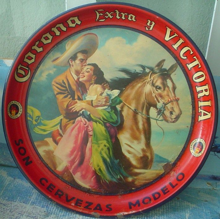 Corona Extra Victoria Beer Tin Serving Tray 1960s