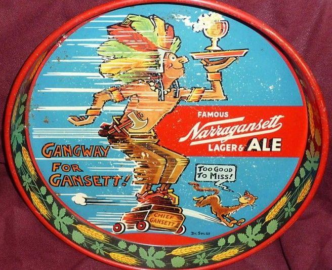 Vintage Dr. Seuss Narragansett Lager Ale Beer Tray