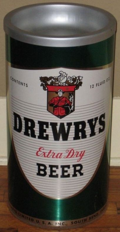 Drewry's Green Tin Beer Standing Ashtray/Trash Can