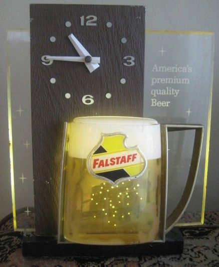 Vintage Falstaff Lighted Beer Sign w/Clock-Oblong Shape