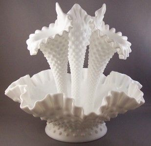 Fenton Hobnail Milk Glass Epergne Bowl with 3 Vases
