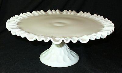 Vintage Fenton Thumbprint Milk Glass Cake Plate Stand