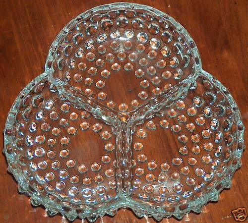 Vintage Fenton 3 Part Relish Dish Clear Diamond Hobnail