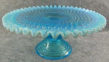 Vintage Fenton Blue Hobnail Opalescent Glass Cake Stand