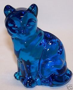 Vintage Fenton Colonial Blue Cat 1960s