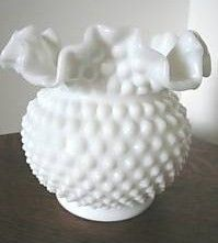Fenton Hobnail Milk Glass Crimped Bowl