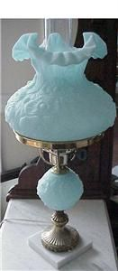 Vintage Fenton Poppy Satin Blue Glass Lamp