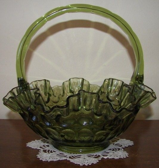Vintage Fenton Thumbprint 60s Colonial Green Basket